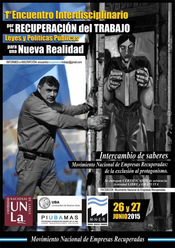 Afiche I Encuentro Interdisciplinario por la Recuperación del Trabajo